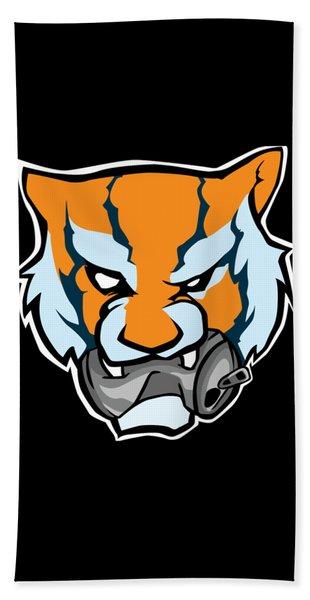 Tiger Head Bitting Beer Can Orange Bath Towel