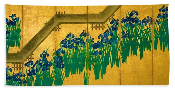 Top Quality Art - Irises At Yatsuhashi-eight Bridges #2 Hand Towel