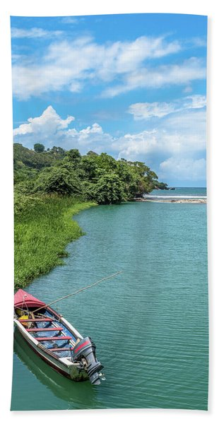 Tour Boat In Jamaica Hand Towel
