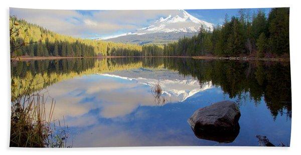 Trillium Lake Morning Reflections Hand Towel
