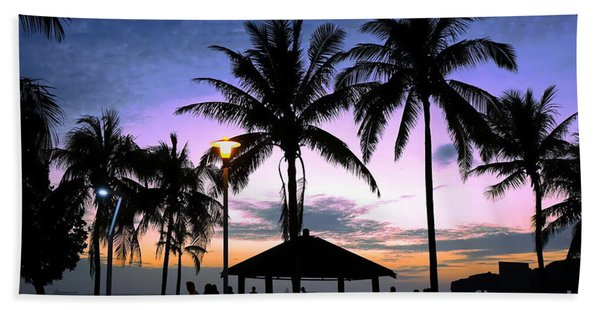 Tropical Beach Scene After Sunset Hand Towel