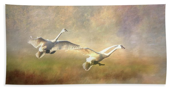 Bath Towel featuring the photograph Trumpeter Swan Landing - Painterly by Patti Deters