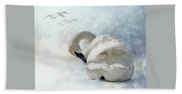 Bath Towel featuring the photograph Trumpeter Textures #2 - Swan Preening by Patti Deters