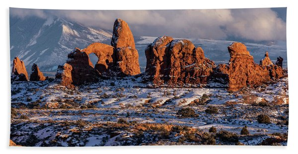 Turret Arch Winter Sunset Hand Towel