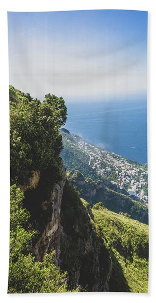 View Of Amalfi Italy From Path Of The Gods Bath Towel
