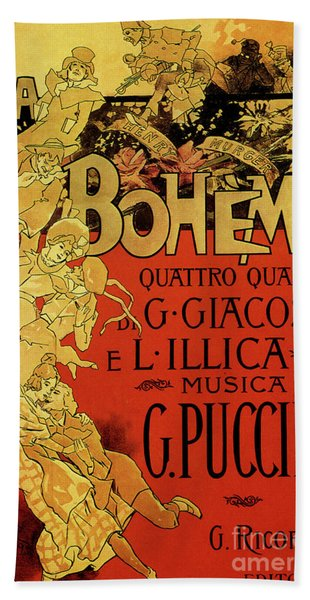 Vintage Poster By Adolfo Hohenstein For Opera La Boheme By Giacomo Puccini Hand Towel