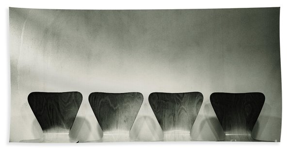 Waiting Room With Empty Wooden Chairs, Concept Of Waiting And Passage Of Time, Black And White Image, Free Space For Text. Bath Towel