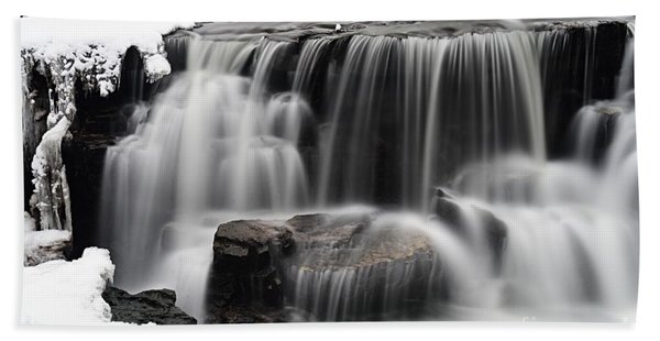 Waterfall And Snow Hand Towel