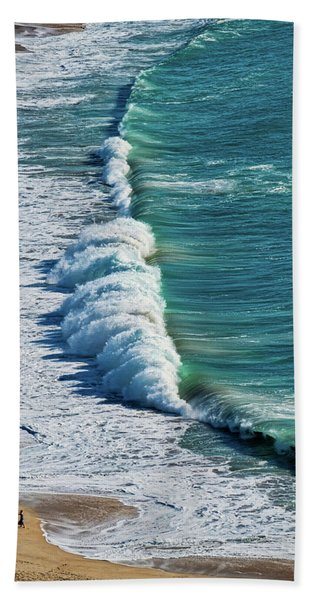 Waves At Nazare Beach - Portugal Hand Towel