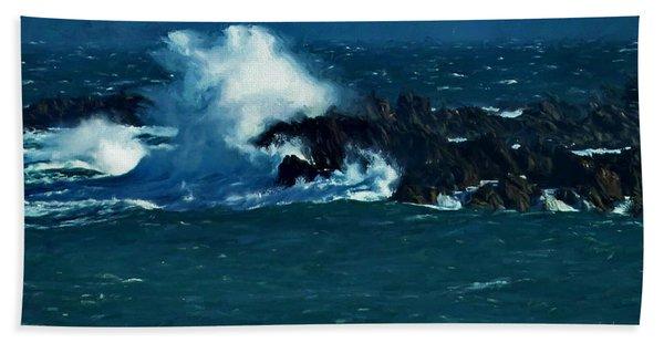 Waves On The Rocks Hand Towel