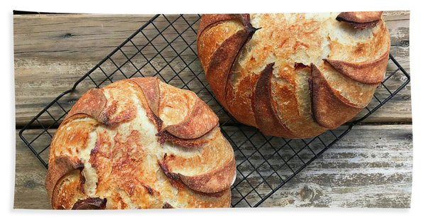 Bath Towel featuring the photograph White And Rye Sourdough Swirls by Amy E Fraser