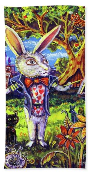 White Rabbit Alice In Wonderland Bath Towel