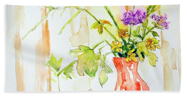 Wild Flowers In An Orange Vase Bath Towel