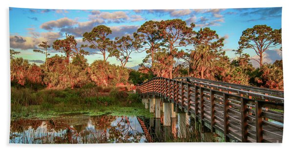 Bath Towel featuring the photograph Winding Waters Boardwalk by Tom Claud
