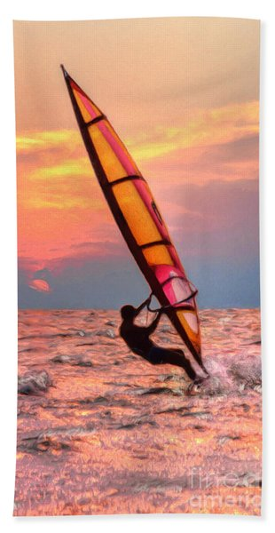 Windsurfing At Sunrise Bath Towel