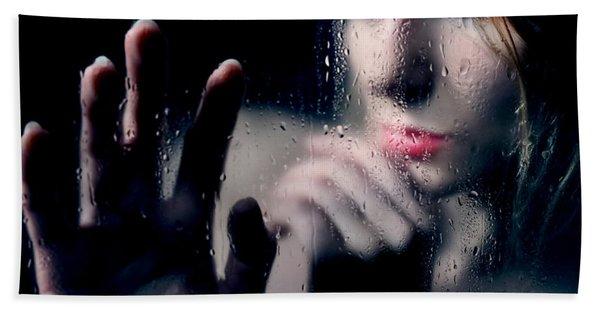 Woman Portrait Behind Glass With Rain Drops Bath Towel