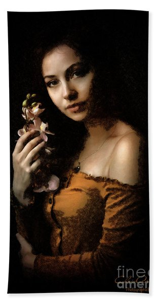 Woman With Orchid Hand Towel