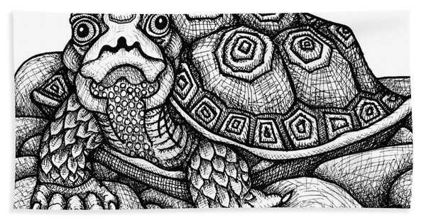 Bath Towel featuring the drawing Wood Turtle by Amy E Fraser