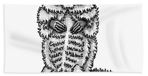 Bath Towel featuring the drawing Woodchuck by Amy E Fraser