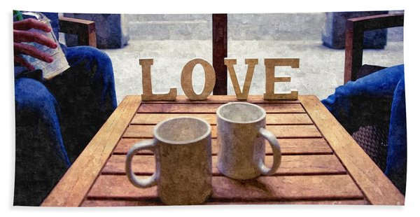Word Love Next To Two Cups Of Coffee On A Table In A Cafeteria,  Bath Towel