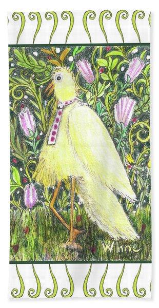 Yellow Bird With Tie Hand Towel