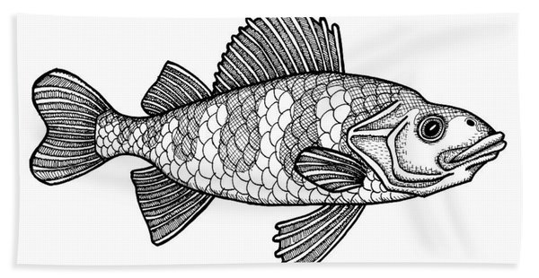 Bath Towel featuring the drawing Yellow Perch by Amy E Fraser