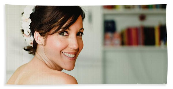 Young Woman From Behind Smiling Bath Towel