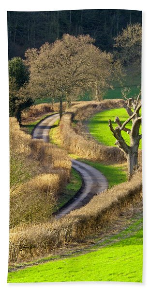 Winding Country Lane Beach Towel