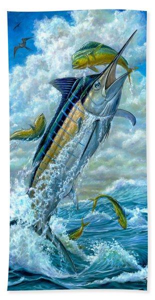 Big Jump Blue Marlin With Mahi Mahi Beach Towel