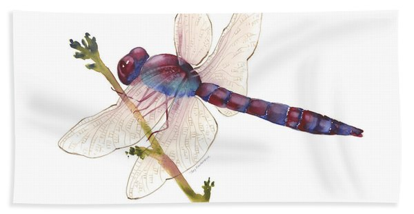Burgundy Dragonfly  Beach Towel