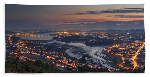 Ferrol's Ria Panorama From Mount Ancos Galicia Spain Beach Towel