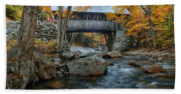 Beach Towel featuring the photograph Flume Gorge Covered Bridge by Jeff Folger