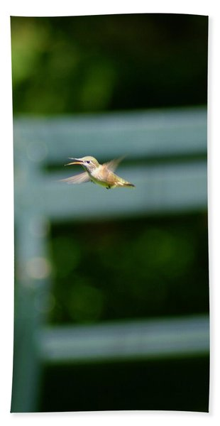 Hummer In Flight Beach Towel