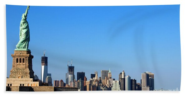 Beach Towel featuring the photograph Lady Liberty Watches 1wtc Rise by Jemmy Archer
