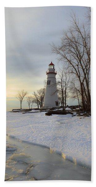 Marblehead Lighthouse Winter Sunrise Beach Towel