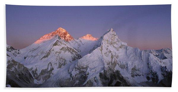 Moon Over Mount Everest Summit Beach Towel