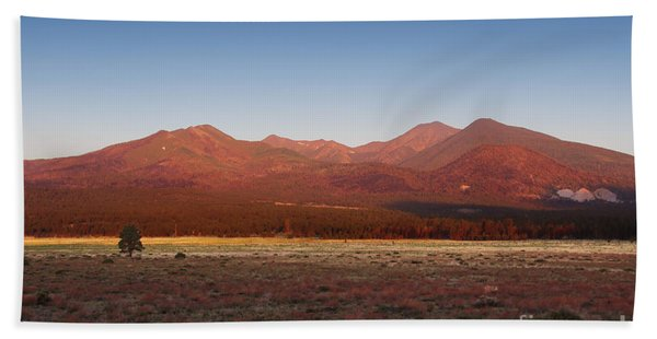 Beach Towel featuring the photograph San Francisco Peaks Sunrise by Jemmy Archer