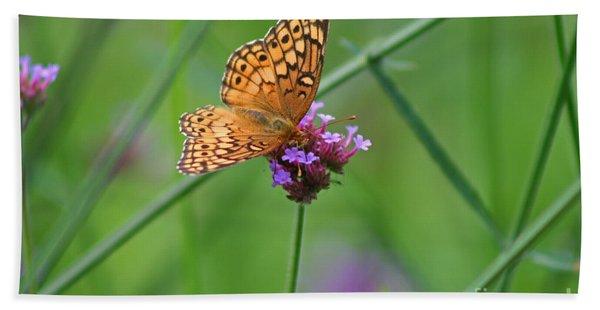 Variegated Fritillary Butterfly In Field Beach Towel
