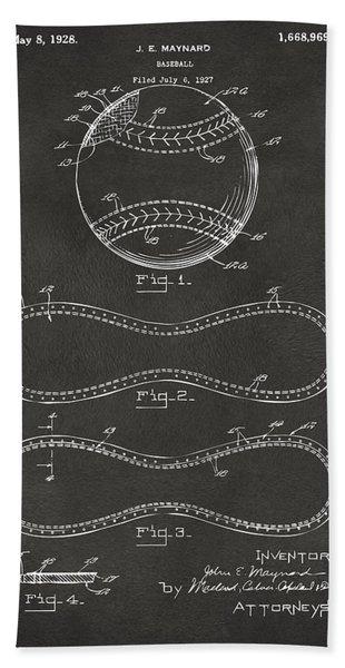 1928 Baseball Patent Artwork - Gray Beach Towel