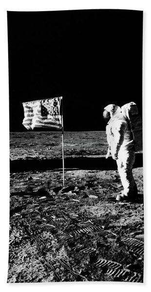 1969 Astronaut Us Flag And Leg Of Lunar Beach Towel