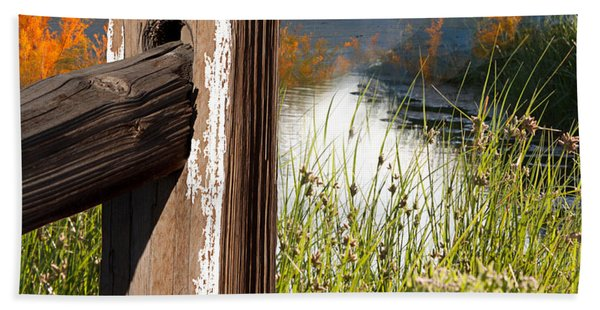 Beach Towel featuring the photograph Landscape With Fence Pole by Gunter Nezhoda