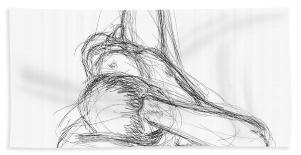 Nude Male Sketches 2 Beach Towel