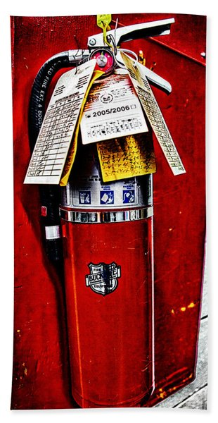 Grungy Fire Extinguisher Beach Towel