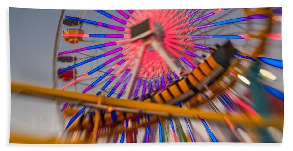 Santa Monica Pier Ferris Wheel And Roller Coaster At Dusk Beach Towel