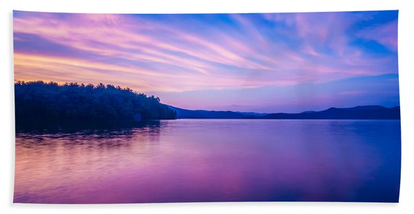 Sunset During Blue Hour At The Lake Beach Towel