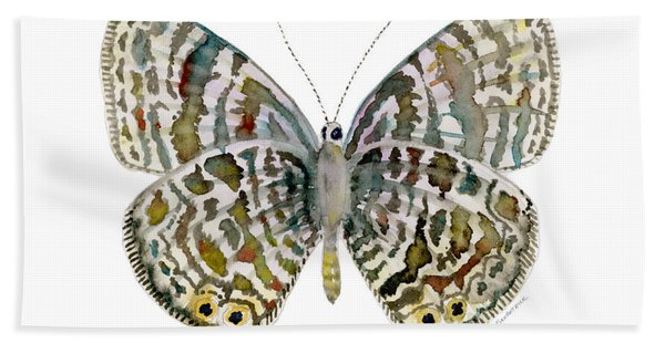 51 Lang's Short-tailed Blue Butterfly Beach Towel