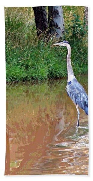 Blue Heron On The East Verde River Beach Towel