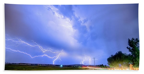 95th And Woodland Lightning Thunderstorm View Hdr Beach Towel