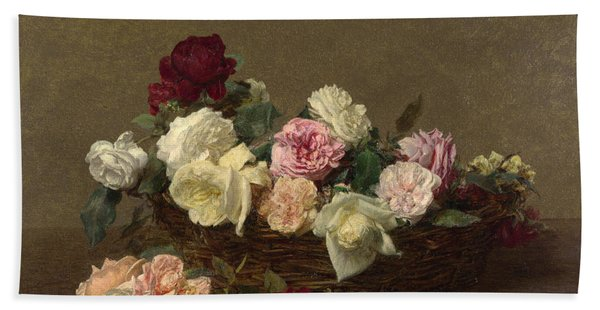 A Basket Of Roses Beach Towel