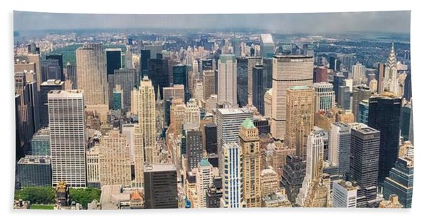A Cloudy Day In New York City   Beach Towel